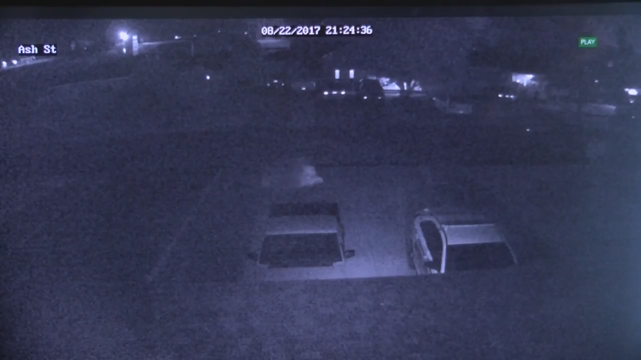 A still image from the video showing the 'ghost' in the center of the frame.