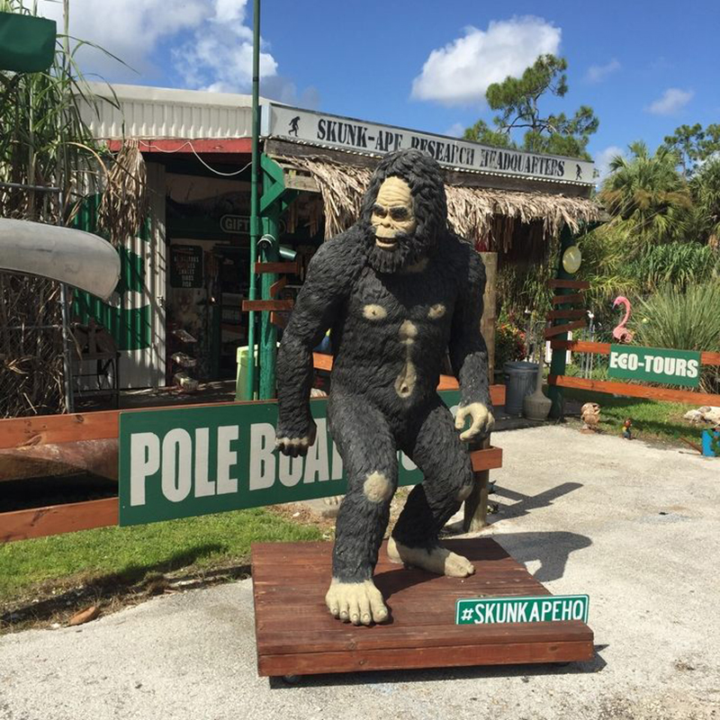 A statue of Florida's favorite cryptid outside of the Skunk Ape Research Headquarters.