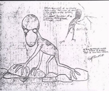 A drawing Bartlett made of the creature he saw.