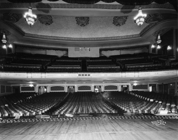 Interior of the Orpheum Theatre from the stage, view of the auditorium with balcony. Credit:  The Wisconsin Historical Society