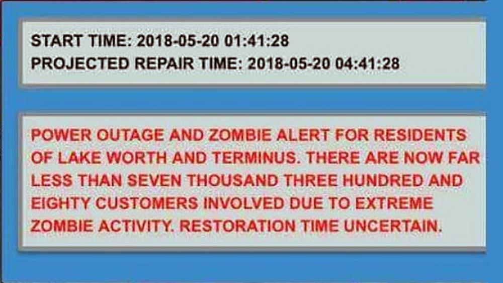 The message sent by the city warning of zombies.