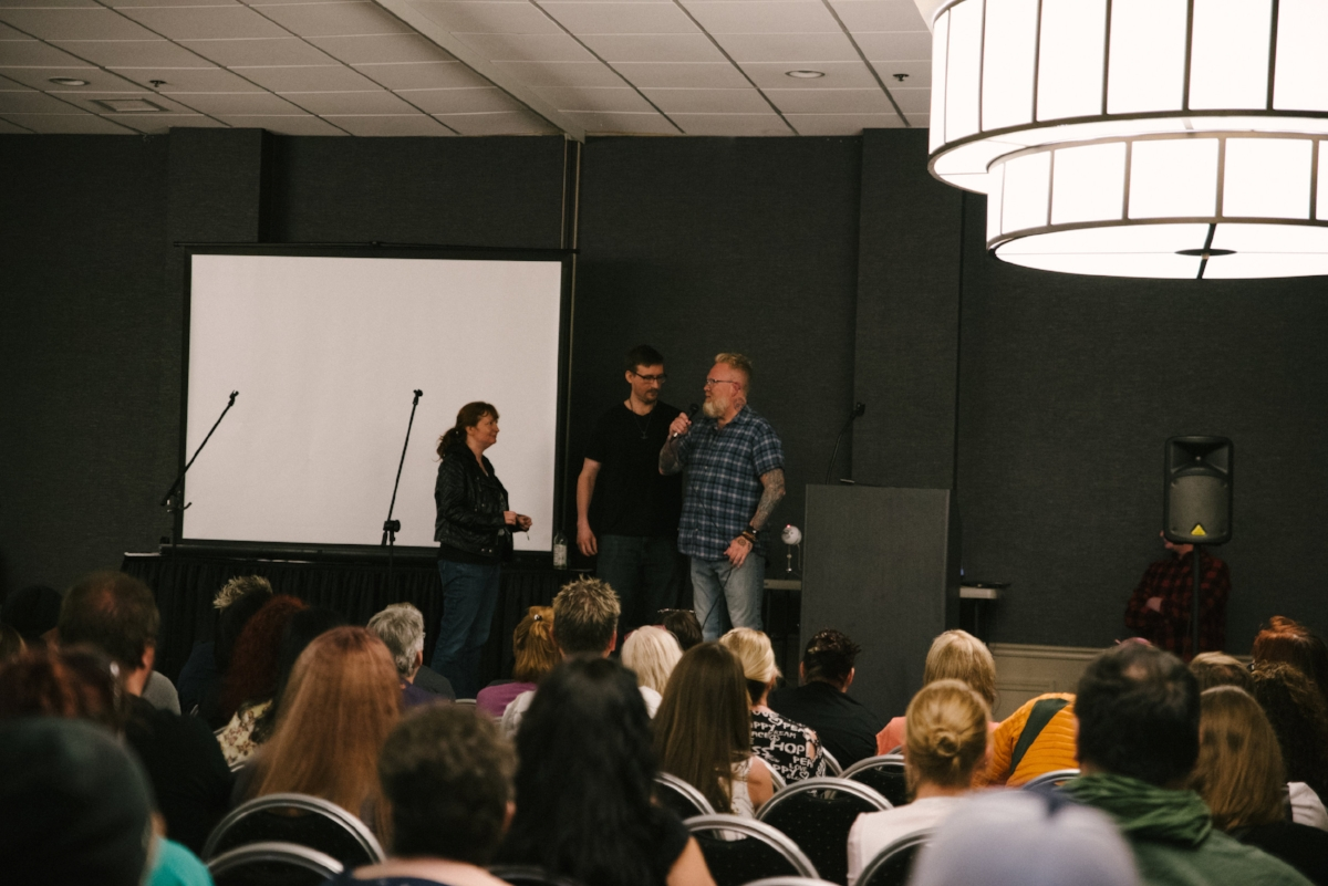 Fortean investigators Allison Jornlin and Tobias Wayland with conference host Troy Taylor.