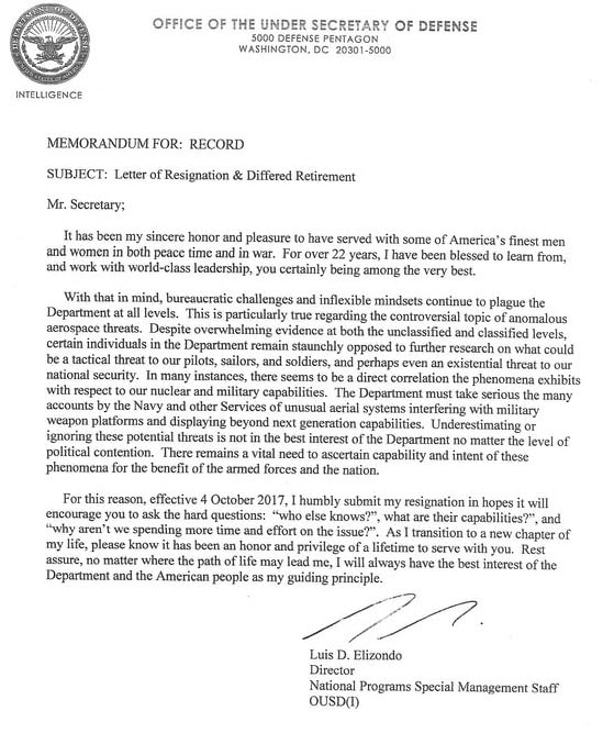 Luis Elizondo\'s Alleged Letter of Resignation Circulating on ...
