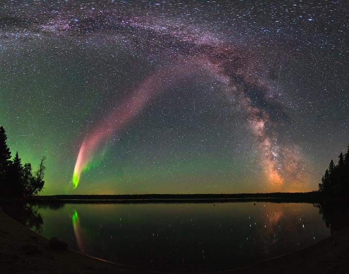 The purple streak of light seen in Canada on July 25, 2016.  (Image credit: NASA)