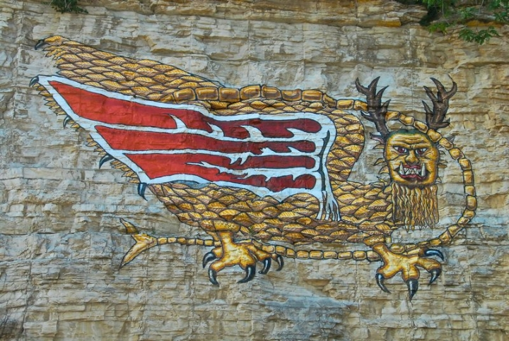 The Piasa Bird painting as it exists today.  (Image credit:    Burfalcy/Wiki Commons   /CC BY SA 3.0)