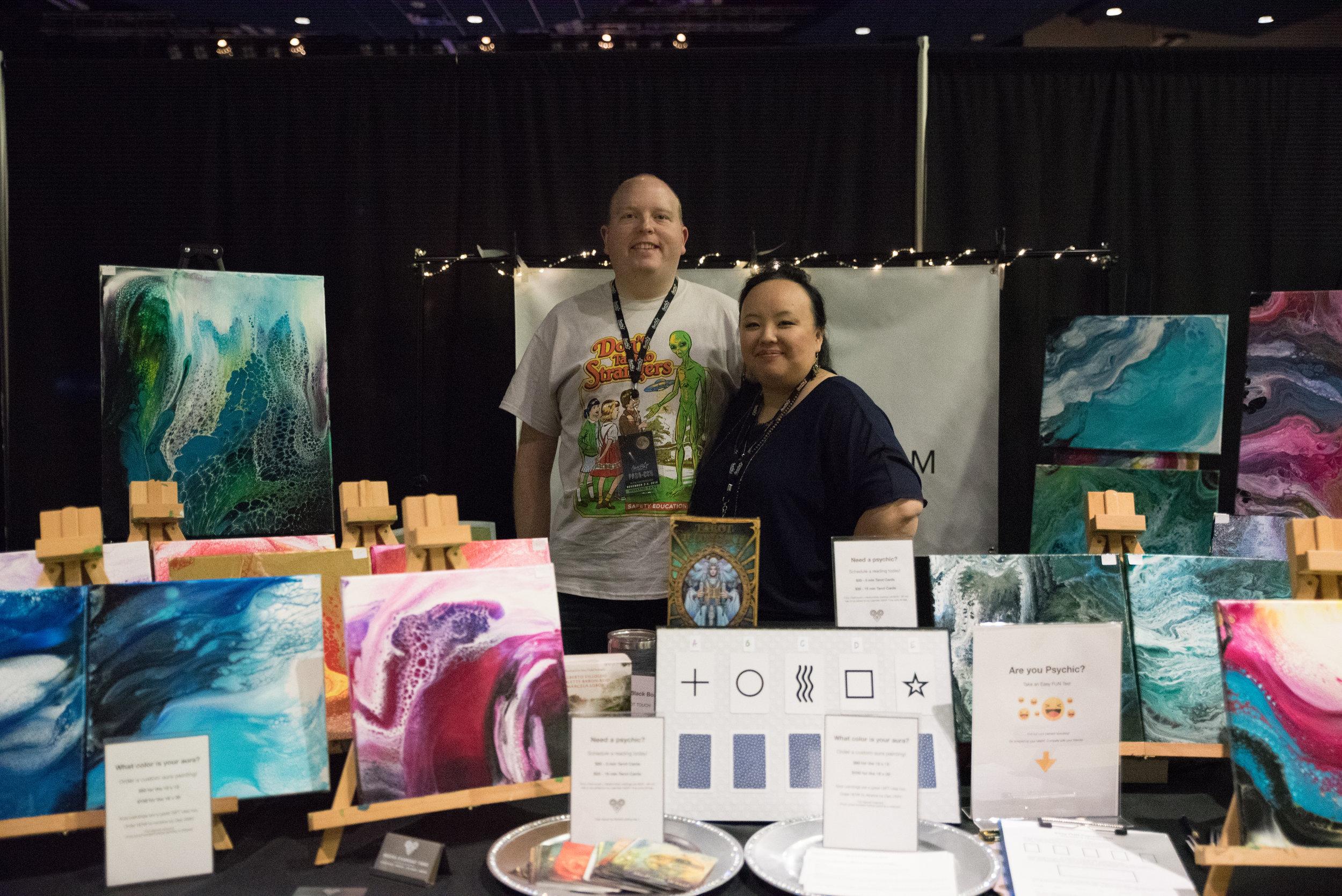 Medium Nedra Khamsao Yang brought her beautiful aura paintings to the Para-con.