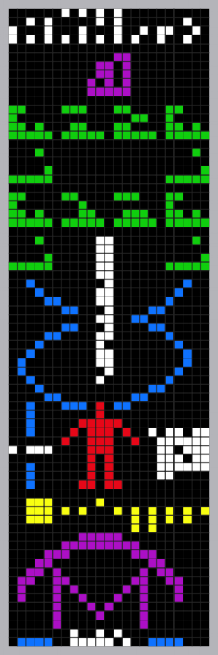 The binary transmission with color added to accent its separate parts.