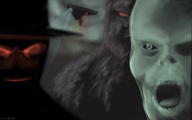 William captured the interconnectedness of fortean phenomena with this piece featuring a few of our favorite creepy creatures.