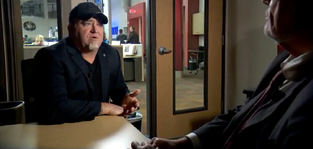 Luis Elizondo (left) being interviewed by George Knapp (right foreground) on December 14th, 2018.  (Image credit: CBS 8 Las Vegas)