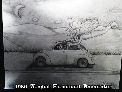 A sketch of the winged being chasing Dotson's car.  (Image credit: Bet Dotson)