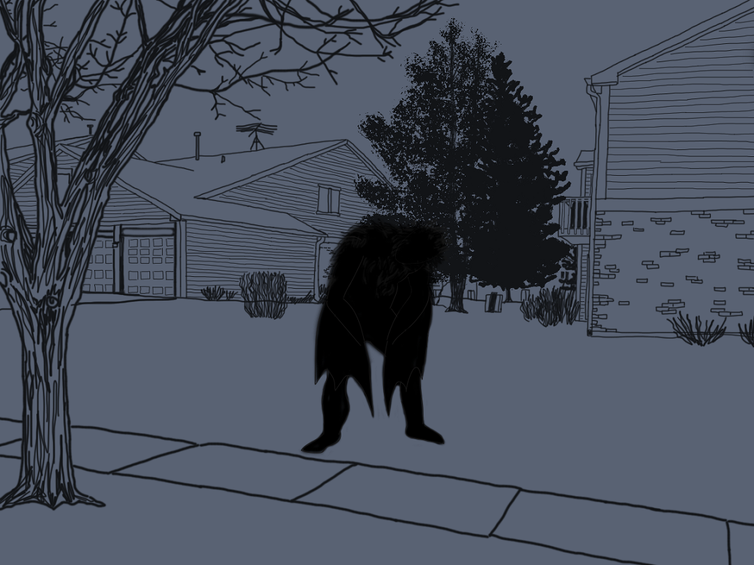 An artist's interpretation of Paula's sighting of a hulking, hunched-over, winged being.  (Image credit: Emily Wayland / The Singular Fortean Society)