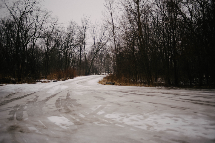 The view facing the street from the driveway leading into Dufield Pond. This area is closed to regular vehicle traffic during the winter months.  (Emily Wayland / Singular Fortean Society)