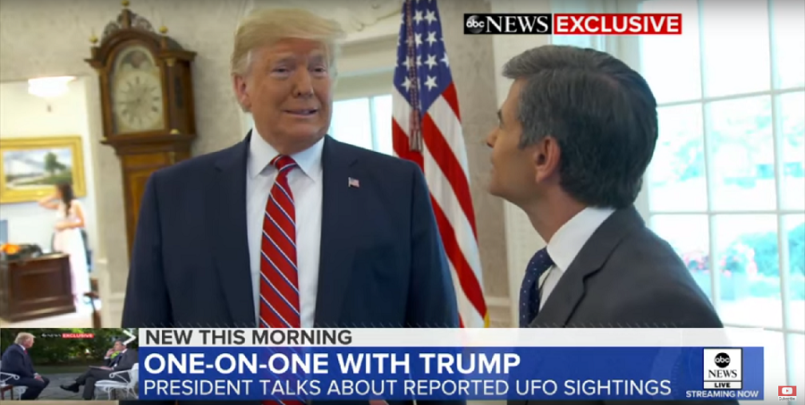 President Trump was recently interviewed regarding UFOs by George Stephanopoulos for ABC News.  (ABC News / YouTube)