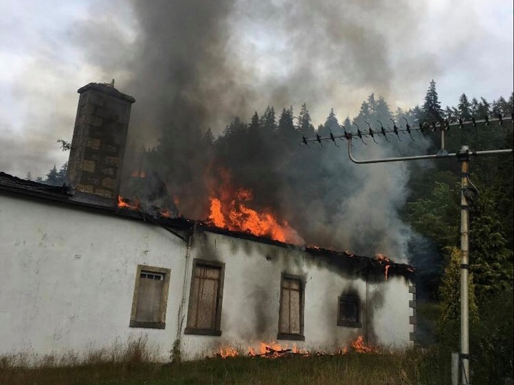 Authorities believe arson is to blame for the fire that engulfed the Boleskine House.  (The Boleskine House Foundation)