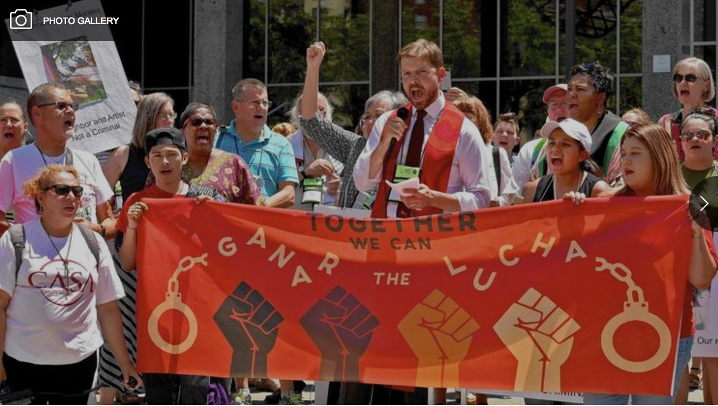 Hundreds of people, including members of the Annapolis faith community, rallied in Downtown Baltimore Monday afternoon to support Guillermo Recinos Morales, a handyman,who lived in Brooklyn and worked in the Annapolis area. (Picture from the Baltimore Sun, Thursday, Jul. 6, 2017.)