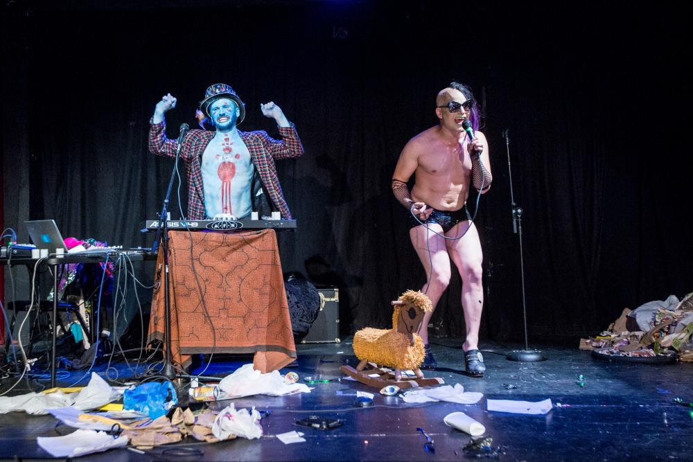 MQR. EN BETWEEN (DYLAN HUNTER) AND MZ. ASA METRIC (EVAN SPIGELMAN) IN   CREEP CUTS  AT THE THEATRE AT ST. CLAUDE, NEW ORLEANS. PHOTO BY JOSHUA BRASTED.