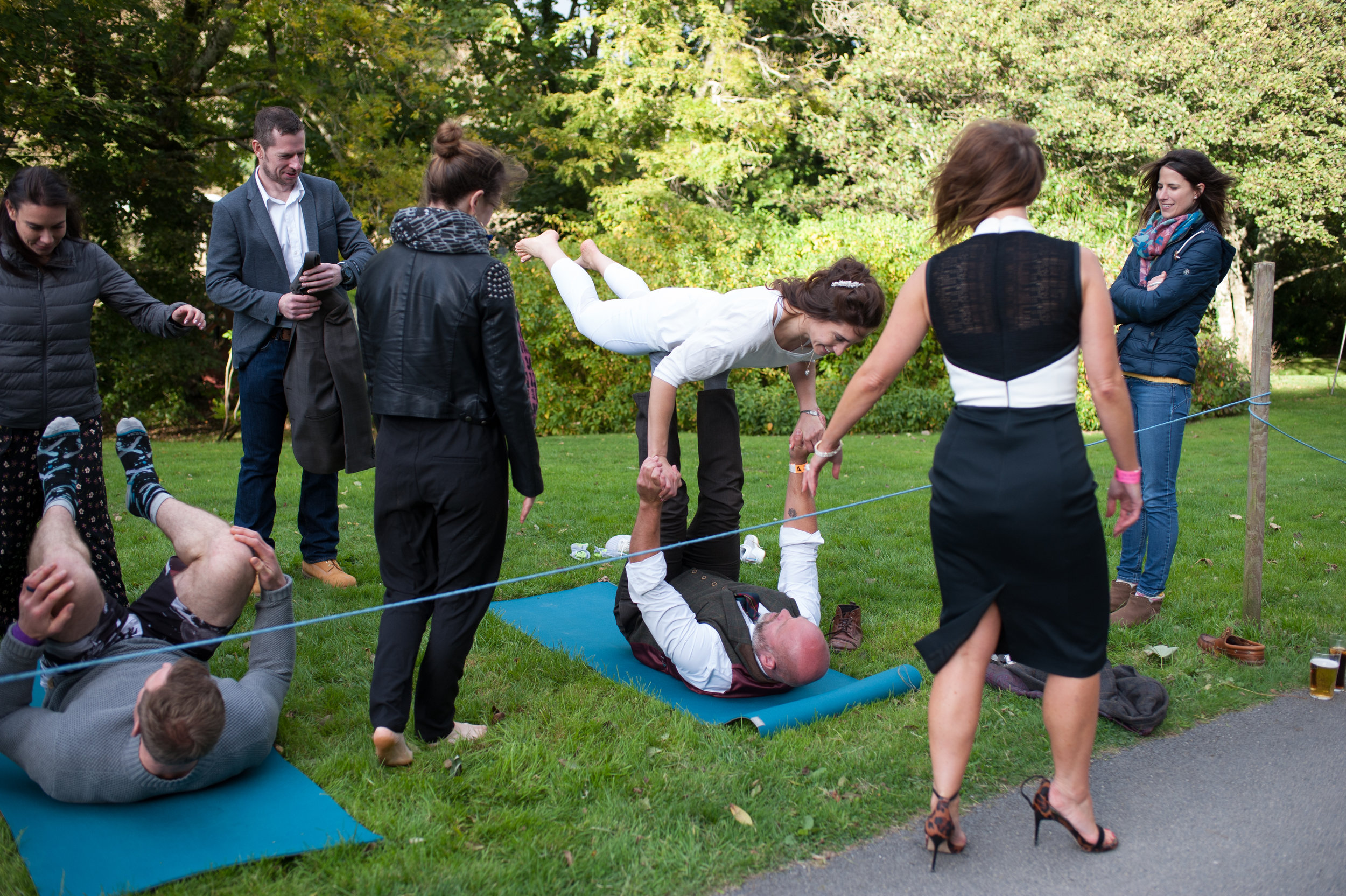 acroyoga with your wedding guests
