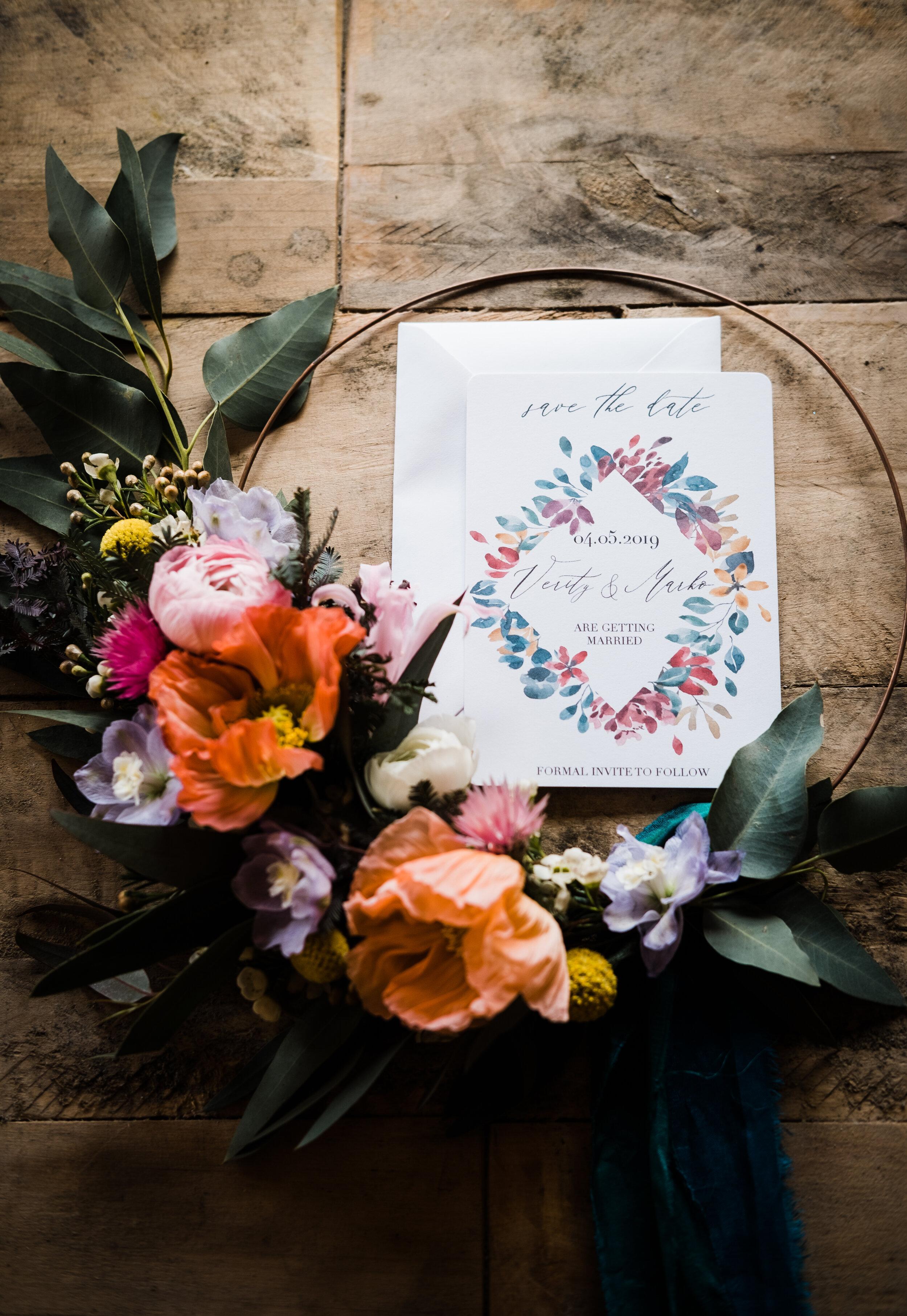 Floral Hoop Save the Date Card