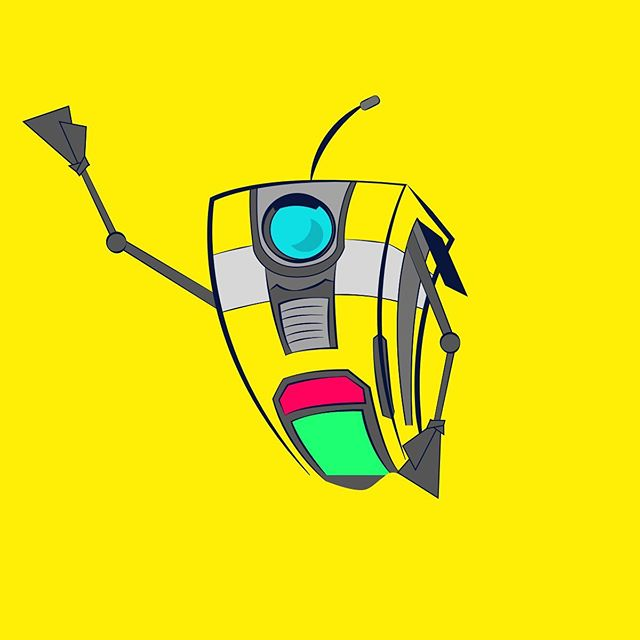 Feeling inspired 🎮 Quick 15min sketch from paper to screen 📺 📝 📺  #nationalvideogameday #nationalvideogamesday #gamer #borderlands #claptrap #fanart