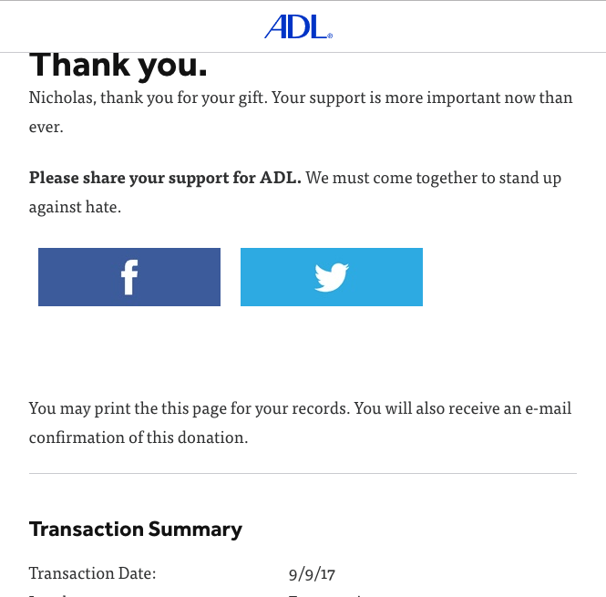 August: $75 to Anti-Defamation League