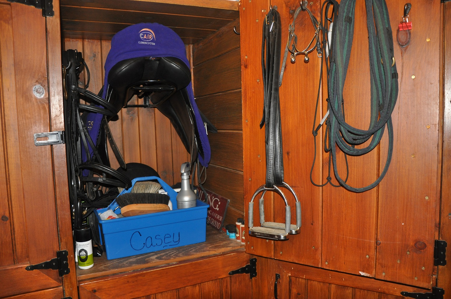 Every horse gets a designated tack locker