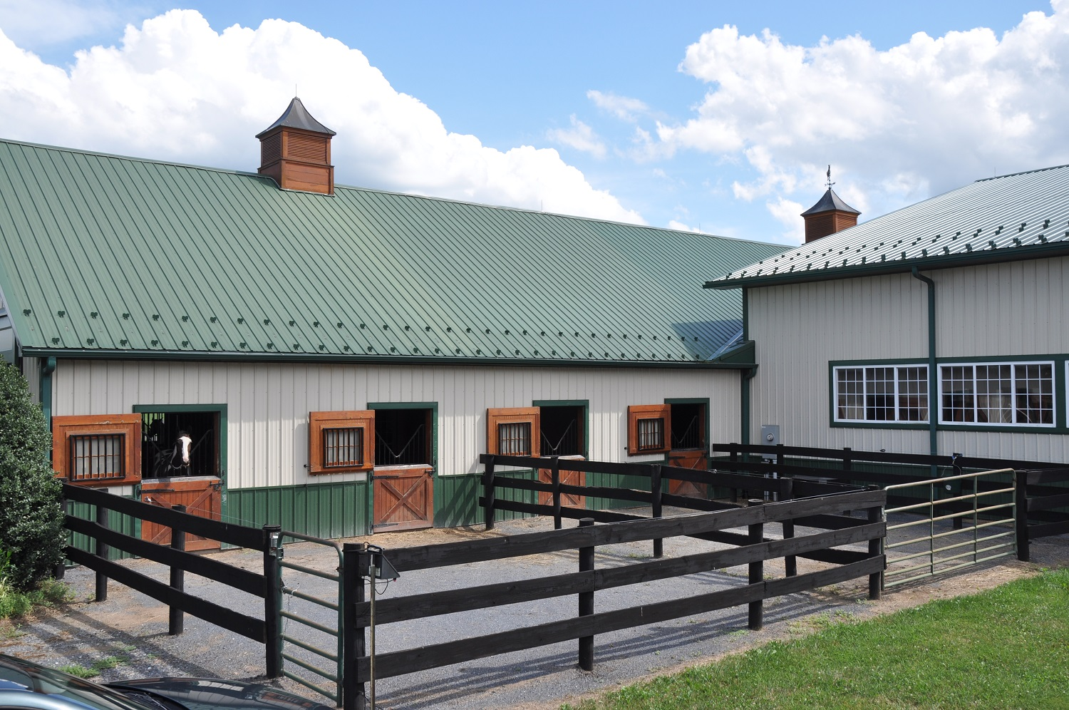 Two of four paddocks off the back of the barn which are AVAILABLE for stalled horses upon request