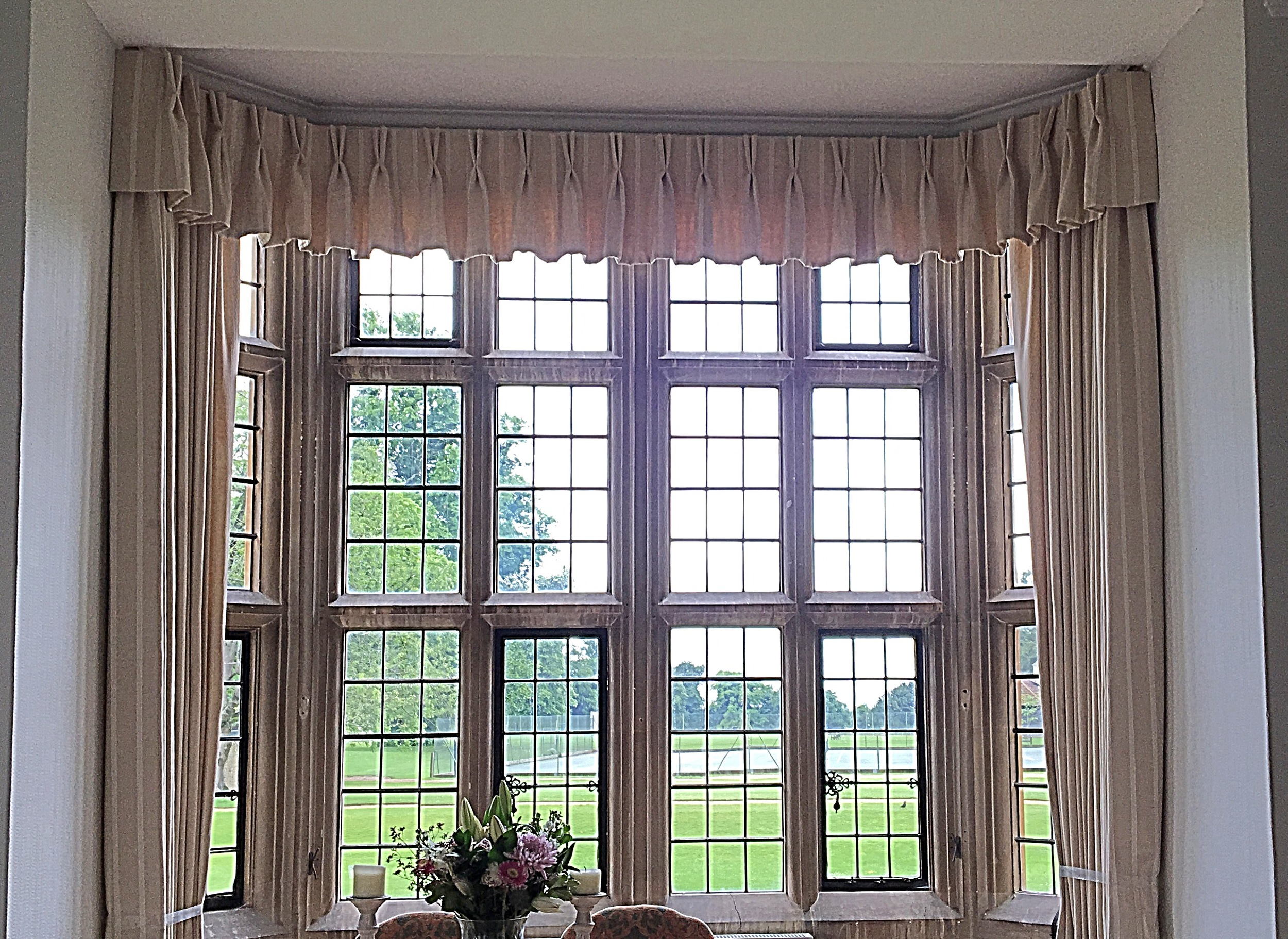 Triple Pinch Pleat Valance, Interlined Curtains, Private Boarding School In Oxfordshire