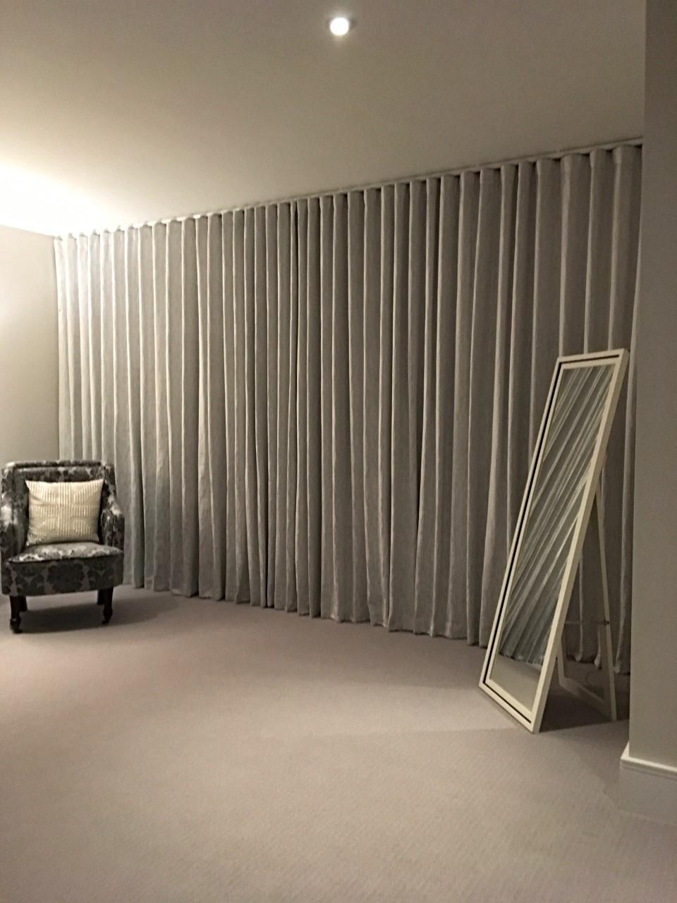 Wave Headed Floor to Ceiling Curtains. Xander Collection by Villa Nova Fabrics
