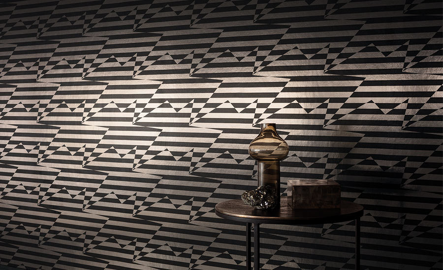 Stripey Zig Zag Birds Wallcovering