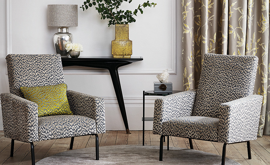 Featured are  :- Otis Taupe 7804/04 Otis Fenugreek 7804/01 Sefina Jaquard Dandelion 7806/04    Otis  ...  A design classic, woven cut and uncut viscose velvet depicts a contemporary animal print with an alluring tactile finish.      Sefina ...  Inspired by the elegant pear trees of Chatsworth House stately home, metallic effect yarns and tonal shades depict an elegant trailing leaf design on this beautiful silk effect weave.