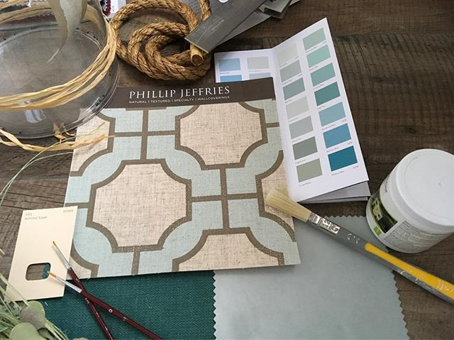 Imperial Gates from Phillip Jeffries #linen #linenwallcovering #sandersonpaints #Barcelona wide width Velvet from Villa Nova #interiordesign #eatery #geometric #natural #speciality #textured