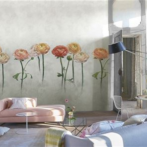FOSCARI FRESCO WALLPAPER from Designers Guild , new for 2019. Frescoed, marble, geometric and floral wallpapers.A captivating and mesmerising collection. #flowers #geometrics #textured #interiordesign #wallpaper #marble #fresco