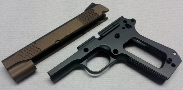 "Recent project: S&W Model 1911 Slide and Frame paint job using Cerakote's matte ""Burnt Bronze"" & ""Graphite Black"""