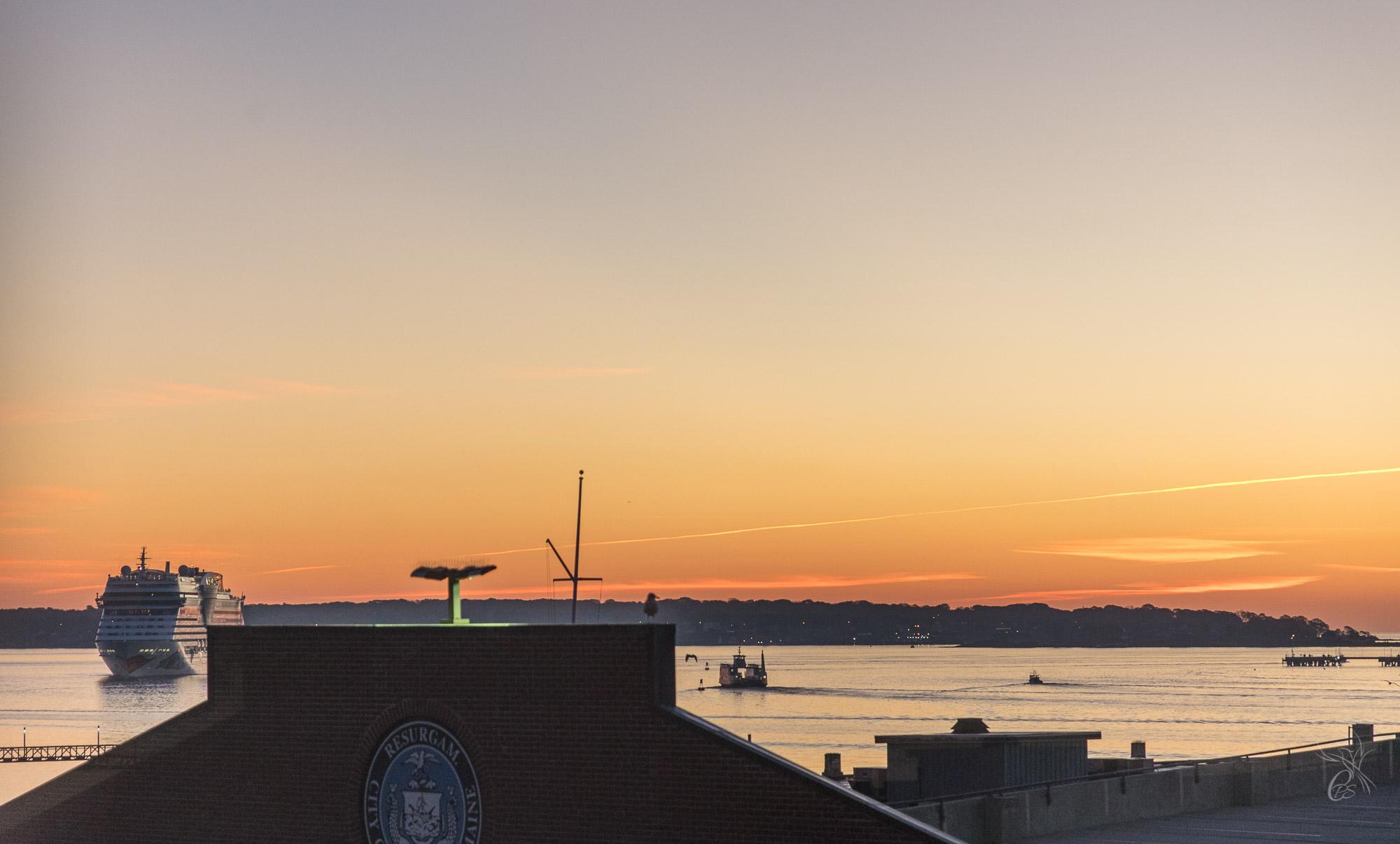 Cruise ship leaving Portland Harbor
