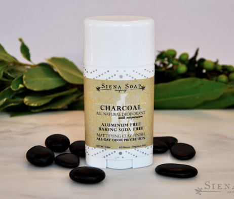 The Charcoal Deodorant by Siena Soap Company is made with charcoal and magnesium and scented with 11 essential oils. It works hard to keep you odor-free all day long.