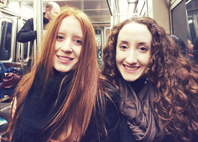 Subway buddies for life. It feels like NYC winter here in LA today! ☔️#flashbackfriday #thestjohnsisters #twinning #filmmaker #travel #film #twinstagram #girlpower