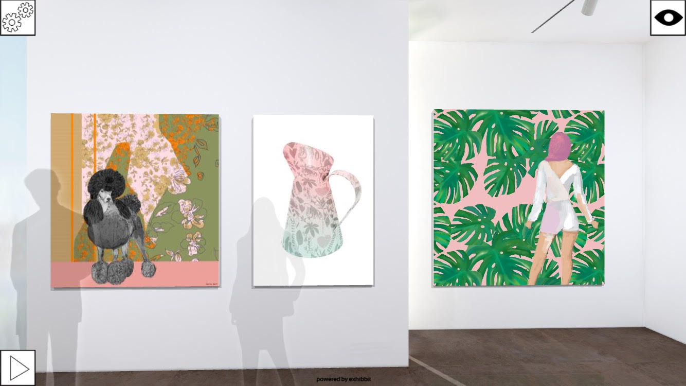 'Poodle with Patterns', 'Big Jug II', 'Pant Suit with Monstera'