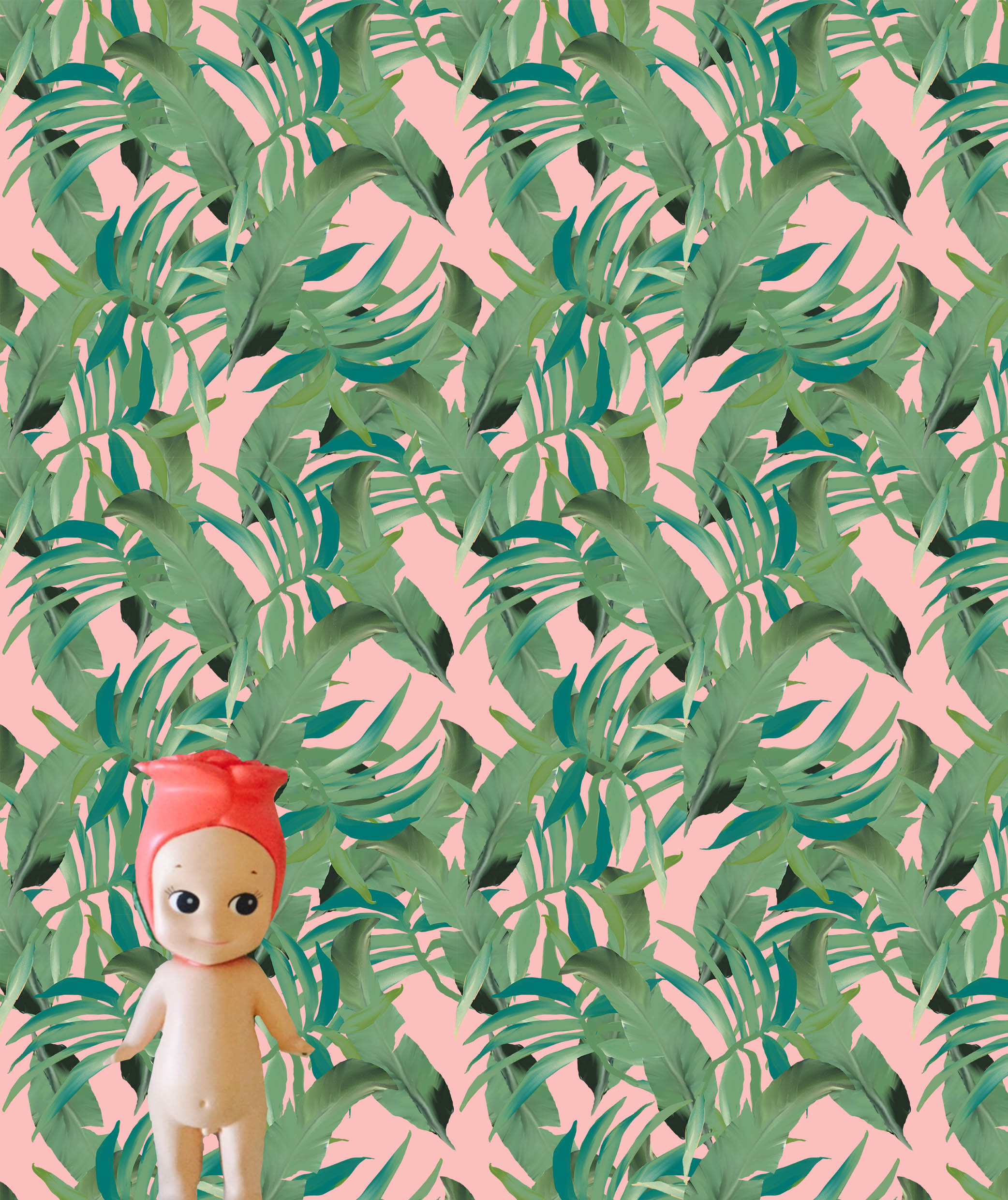 This Sonny Angel doll is to show scale. The height of this piece of wallpaper is the width of an A4 or letter sized piece of paper that you can print using your home printer!