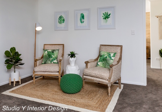 This room had some lovely green accents and it was really fun adding some watercolour leaf paintings in 'just the right green' to help make everything tie in. I think Yvette did a great job matching the deep green tones with some nice natural textures and houseplants.