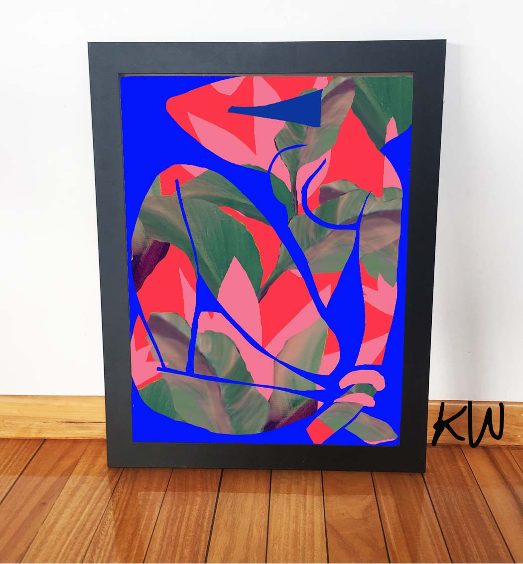 blue nude after matisse red black frame.jpg