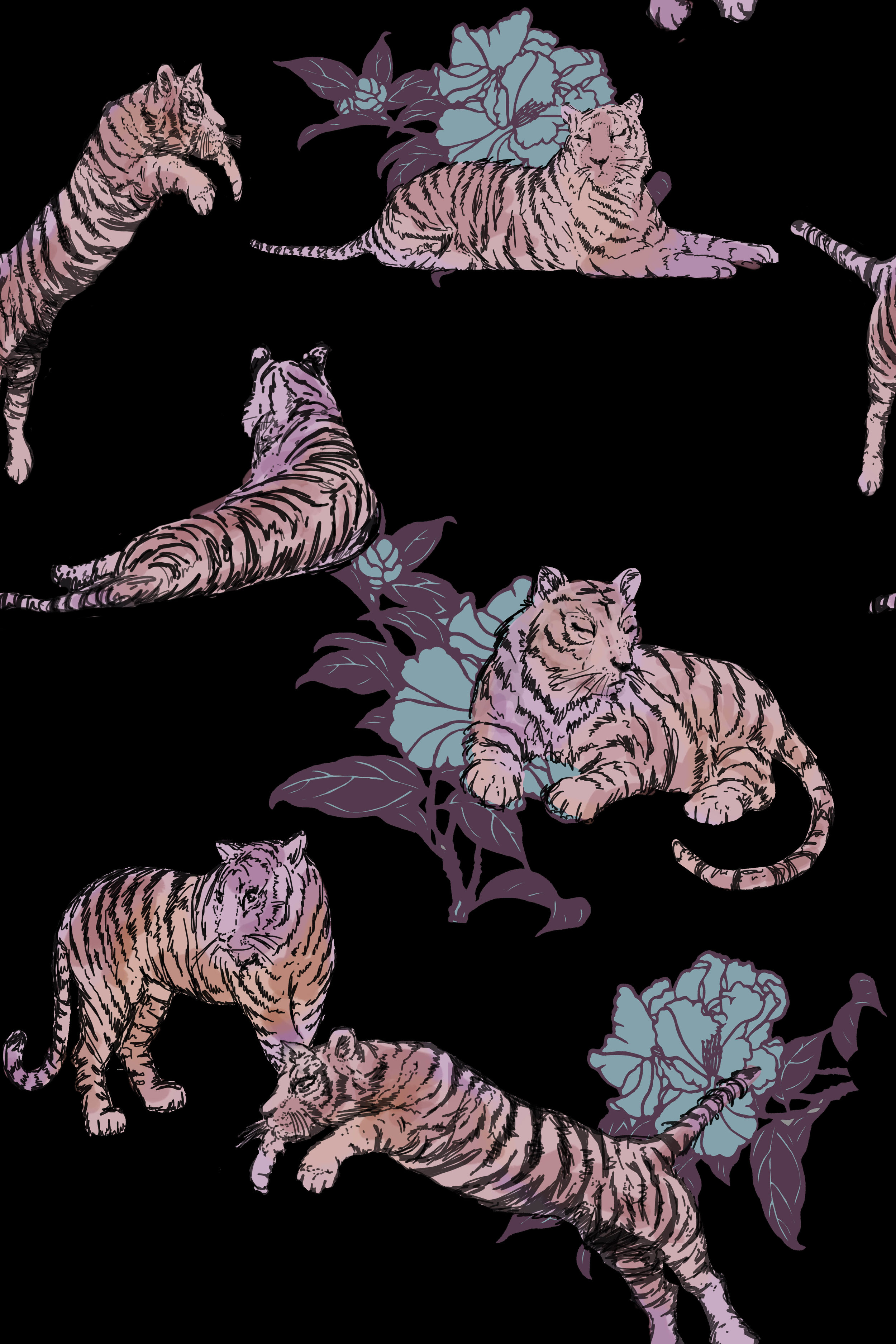 Delicious details. Each tiger is hand-drawn and hand-tinted using watercolour brushes underneath the line work on Photoshop.