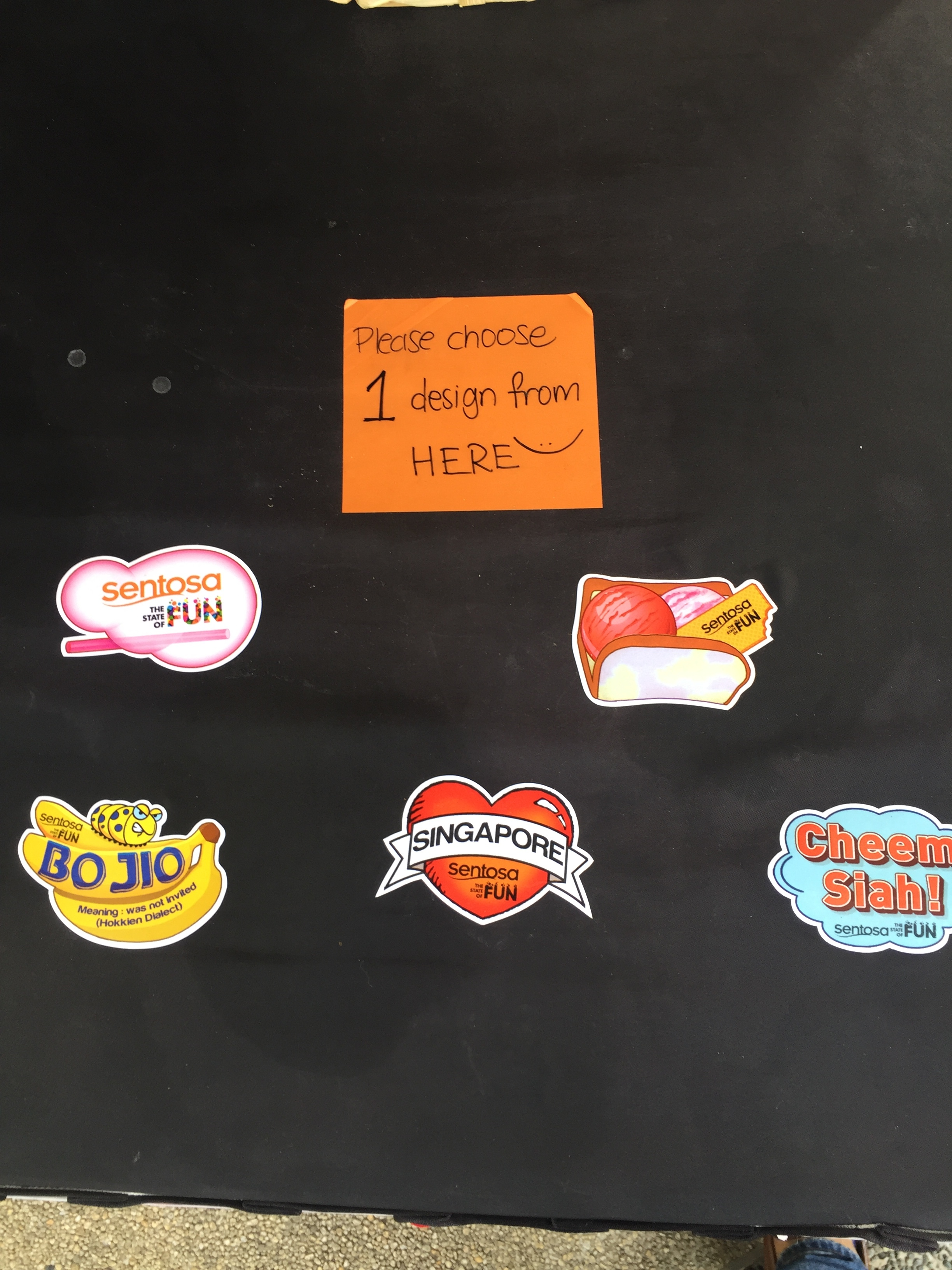 Visitors could select free singlish slang stickers at the Tattoos and Stickers booth