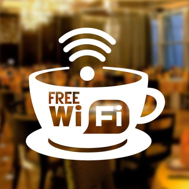 Free Wifi Café Window Sticker - Image Source: https://www.ebay.co.uk/itm/Free-WIFI-Cup-Window-Sign-Vinyl-Sticker-Graphics-Cafe-Shop-Salon-Bar-Restaurant-/262066884669