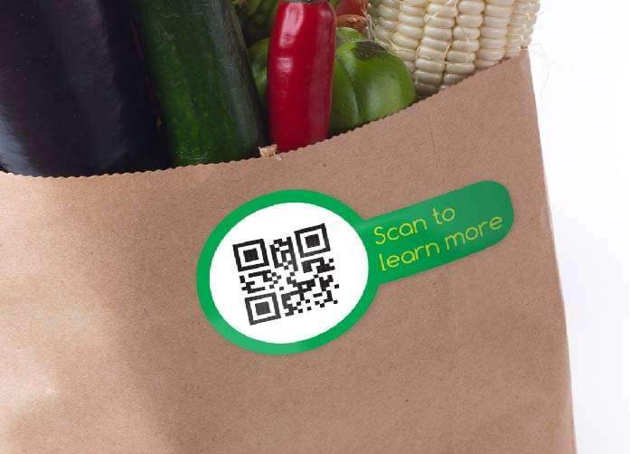 QR Sticker For Vegetable Shop - Image Source: http://www.discountstickerprinting.co.uk/adhesive-stickers-labels/qr-code-stickers.html