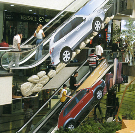 Hyundai advertising its Santa Fe and Tuscan models going up rough terrains  Image Credits:  http://www.toxel.com/inspiration/2009/08/19/clever-and-creative-escalator-advertising/