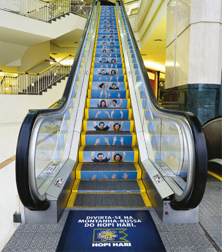 Cool ad from Hopi Hari Theme Park, Brazil promoting their roller coasters.  Image Credits:  http://www.toxel.com/inspiration/2009/08/19/clever-and-creative-escalator-advertising/
