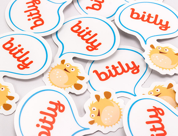 Bitly Die-Cut Sticker Swag   Image Via   Designmag