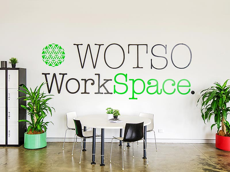6. Creative Typography on the walls at Wotso Workspace in Canberra, Australia