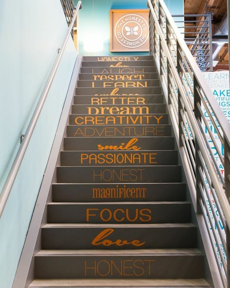 14. Every step you take can be inspirational: On the stairs of Honest Co. Though not a coworking space, Honest's brilliant example of stair stickers needs to be applauded and emulated.