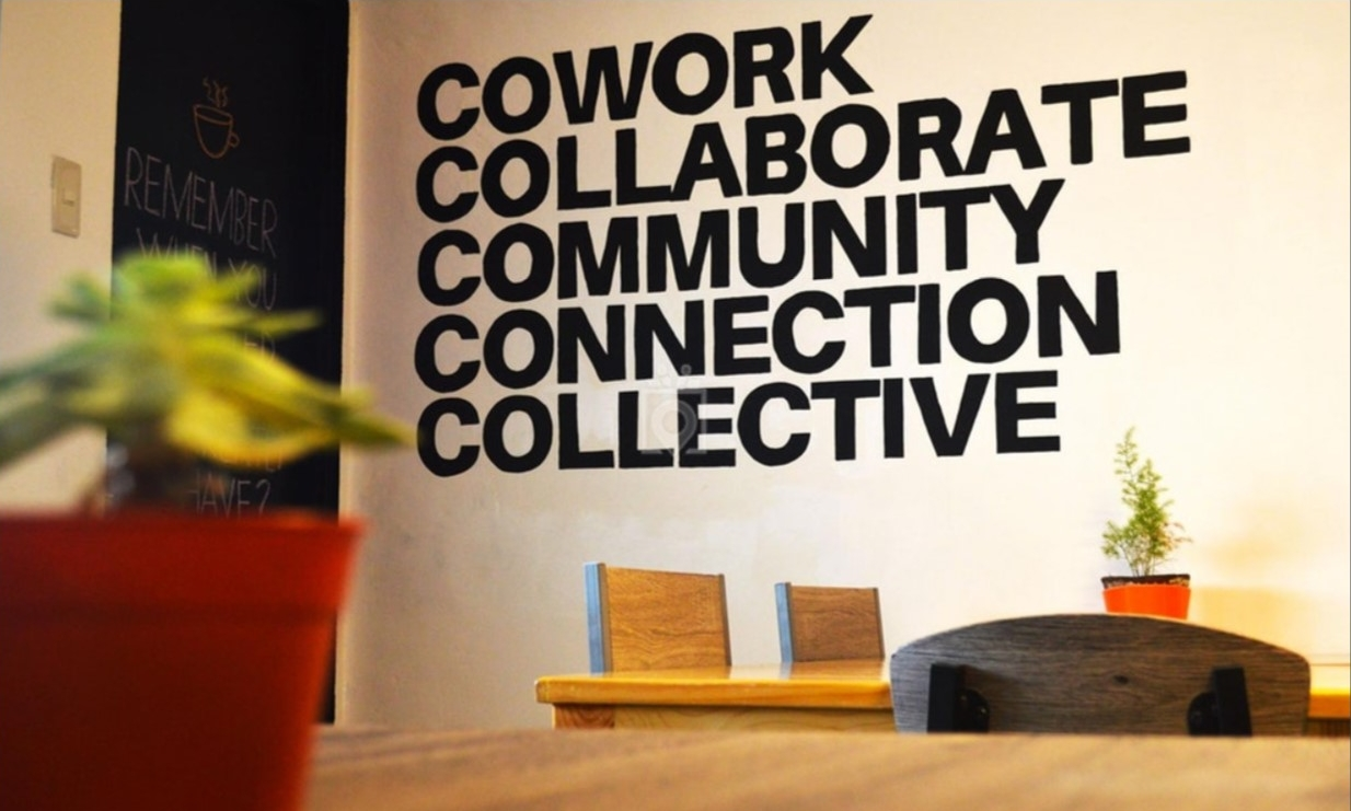 16. The pillars of coworking as a wall sticker at Cofficina café and coworking space in the Philippines